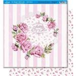 Página para Scrapbook Dupla Face Litoarte 30,5 X 30,5 Cm - Modelo Sd-401 Rosas com Fundo de Listras