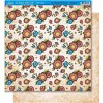 Página para Scrapbook Dupla Face Litoarte 30,5 X 30,5 Cm - Modelo Sd-404 Flores Folk