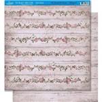 Página para Scrapbook Dupla Face Litoarte 30,5 X 30,5 Cm - Modelo Sd-406 Rosas Fundo de Madeira