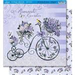 Página para Scrapbook Dupla Face Litoarte 30,5 X 30,5 Cm - Modelo Sd-421 Bicicleta/Flores