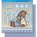 Página para Scrapbook Dupla Face Litoarte 30,5 X 30,5 Cm - Modelo Sd-412 Ursinho e Xadrez