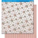Página para Scrapbook Dupla Face Litoarte 30,5 X 30,5 Cm - Modelo Sd-426 Padrão Flores/Listras