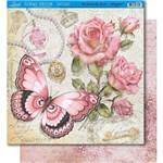 Página para Scrapbook Dupla Face Litoarte 30,5 X 30,5 Cm - Modelo Sd-349 Borboletas e Rosas Vintage