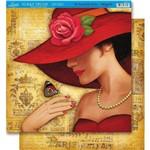 Página para Scrapbook Dupla Face Litoarte 30,5 X 30,5 Cm - Modelo Sd-351 Dama Chapéu Vermelho/Paris