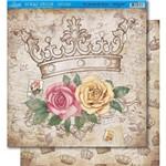 Página para Scrapbook Dupla Face Litoarte 30,5 X 30,5 Cm - Modelo Sd-359 Coroa e Rosas/Coroas