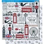 Página para Scrapbook Dupla Face Litoarte 30,5 X 30,5 Cm - Modelo Sd-361 Elementos Londres