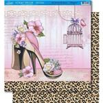 Página para Scrapbook Dupla Face Litoarte 30,5 X 30,5 Cm - Modelo Sd-379 Sapato/Pele