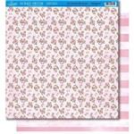 Página para Scrapbook Dupla Face Litoarte 30,5 X 30,5 Cm - Modelo Sd-381 Flores/Listras