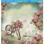 Página para Scrapbook Dupla Face Litoarte 30,5 X 30,5 Cm - Modelo Sd-854 Bicicletas e Rosas Fundo Verde