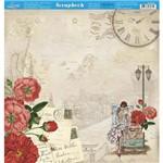 Página para Scrapbook Dupla Face Litoarte 30,5 X 30,5 Cm - Modelo Sd-856 Moça Viajante e Flores Vermelhas