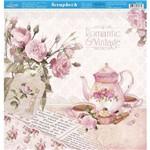 Página para Scrapbook Dupla Face Litoarte 30,5 X 30,5 Cm - Modelo Sd-859 Chá, Bule e Xícaras Rosas