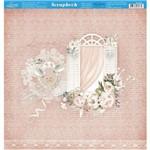 Página para Scrapbook Dupla Face Litoarte 30,5 X 30,5 Cm - Modelo Sd-860 Janelas, Flores Fundo Rosa