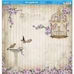 Página para Scrapbook Dupla Face Litoarte 30,5 X 30,5 Cm - Modelo Sd-866 Pássaros, Flores e Gaiola