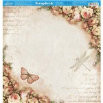 Página para Scrapbook Dupla Face Litoarte 30,5 X 30,5 Cm - Modelo Sd-868 Borboleta e Rosas