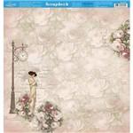 Página para Scrapbook Dupla Face Litoarte 30,5 X 30,5 Cm - Modelo Sd-872 Dama de Sombrinha e Rosas