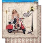 Página para Scrapbook Dupla Face Litoarte 30,5 X 30,5 Cm - Modelo Sd-387 Vespa