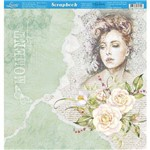Página para Scrapbook Dupla Face Litoarte 30,5 X 30,5 Cm - Modelo Sd-871 Dama Fundo Verde
