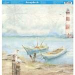 Página para Scrapbook Dupla Face Litoarte 30,5 X 30,5 Cm - Modelo Sd-885 Naval Gaivotas e Barcos