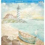 Página para Scrapbook Dupla Face Litoarte 30,5 X 30,5 Cm - Modelo Sd-886 Naval Farol e Canoa