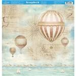 Página para Scrapbook Dupla Face Litoarte 30,5 X 30,5 Cm - Modelo Sd-889 Naval Balão de Ar Quente