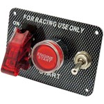 Painel Chave Caça + Botão de Partida + Chave Tic Tac Estilo Fibra de Carbono