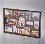 Painel Collection para 14 Fotos 10X15 e 1 Foto 15X21 Marrom 73X48,5X4cm