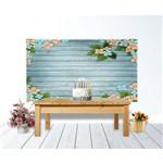 Painel de Festa Textura de Madeira Flores Primavera