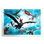 Painel Decorativo 4 Partes Como Treinar Seu Dragão 3