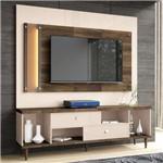 Painel para TV com Bancada Harmonize Off White/Deck - HB Móveis
