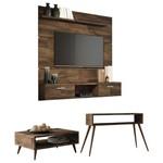 Painel Tv Flat 1.6 com Mesa de Centro Lucy e Aparador Quad Deck - Hb Móveis