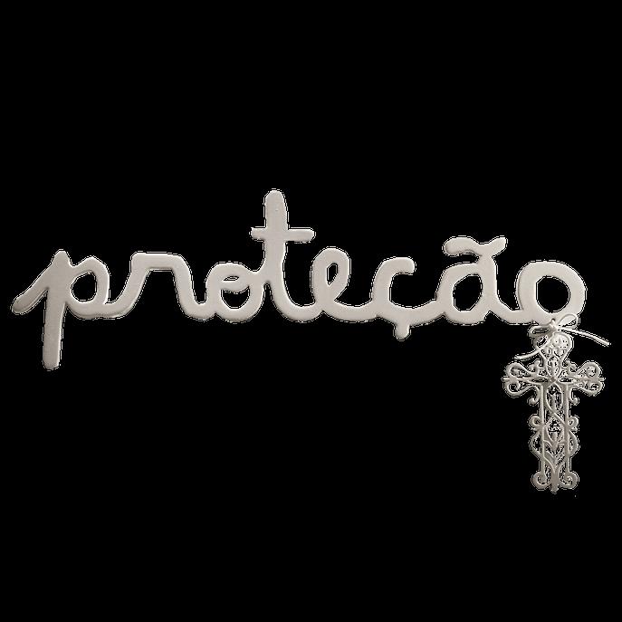 Palavra Decorativa de Parede Proteção em MDF Branco