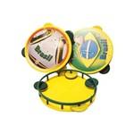 Pandeiro Dodo Amarelo e Verde com Adesivo - 01 Unidade
