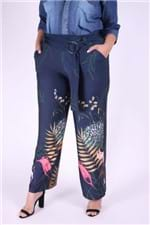 Pantalona de Jersey Estampada Plus Size Azul Marinho P