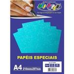 Papel A4 Glitter Azul Neon 180g.