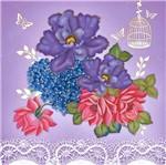 Papel Adesivo Decoupage Hot Stamping Flores e Borboletas 20x20cm DA20H-003 - Litoarte