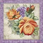 Papel Adesivo Decoupage Quadrado Litocart LAQ-109 20x20cm Flores Laranja e Roxa