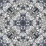 Papel de Parede Adesivo Abstrato Quarto de Solteiro Azul Marinho e Preto Teia Monograma AB14016