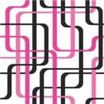 Papel de Parede Adesivo Abstrato Rosa Neon e Preto e Rosa Hall Geometria das Linhas AB14112