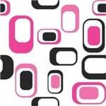 Papel de Parede Adesivo Abstrato Rosa Neon e Preto Quarto de Casal Formas AB14117