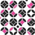 Papel de Parede Adesivo Abstrato Rosa Neon e Preto Sala Estar Circulos Neon AB14111