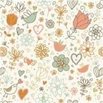 Papel de Parede Adesivo - Flores e Corações - N0918
