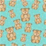 Papel de Parede Adesivo Infantil Azul e Bege Quarto Ursos IF12168