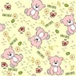 Papel de Parede Adesivo Infantil Bege e Rosa Quarto Ursinhos da Paz IF122357