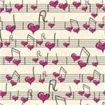 Papel de Parede Adesivo Infantil Romântico Rosa Música Coração IF12130