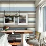 Papel de Parede Adesivo Listrado Horizontal Azul e Bege Sala de Jantar Florinda LT18106