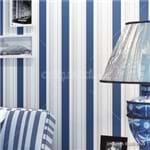 Papel de Parede Adesivo Listrado Vertical Azul e Branco para Sala Realeza LT18137