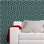 Papel de Parede Adesivo Rolo 0,58x3,00M Abstrato Geométrico Azul Preto 629846771