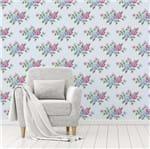 Papel de Parede Adesivo Rolo 0,58x3,00M Floral Folhas Rosa Azul 751249094