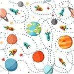 Papel de Parede Adesivo Rolo 0,58x3,00M Foguete Lua Planeta 16092746