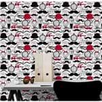 Papel de Parede Adesivo Rolo 0,58x3,00M Retrô Mustache Bigode Relógio Chapéu 156272687